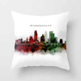 Minneapolis Watercolor Skyline Throw Pillow