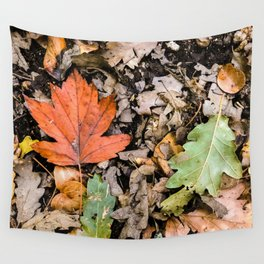 Autumnal leaves on the ground Wall Tapestry