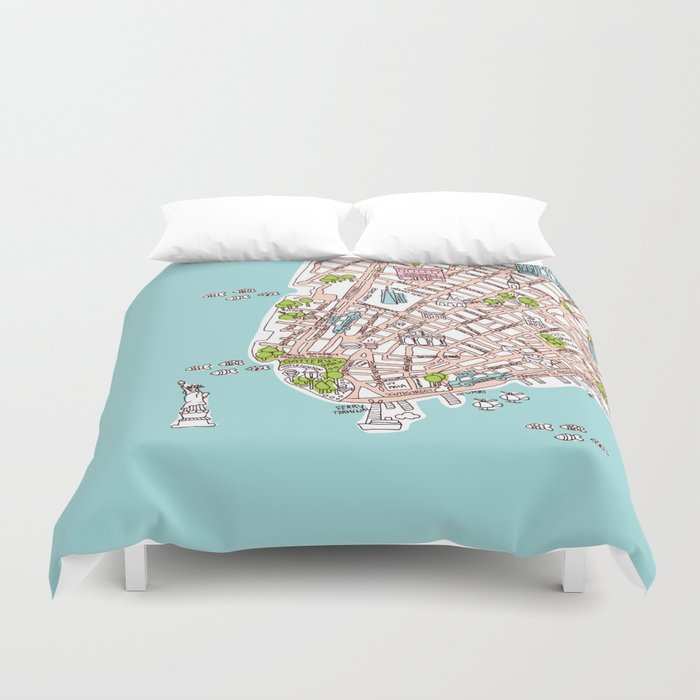 fun new york city manhattan street map illustration duvet cover
