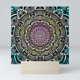 DETAILED CHARCOAL MANDALA (BLACK AND WHITE) WITH COLOR (PINK YELLOW TEAL) Mini Art Print