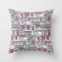 Paris toile raspberry Throw Pillow