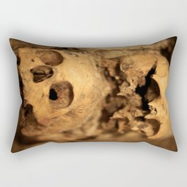 Skulls in the catacombs in Paris, France. Rectangular Pillow