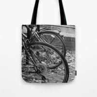 bikes Tote Bags featuring Bikes  by Renatta Maniski-Luke