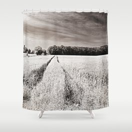 Tracks in the field Shower Curtain