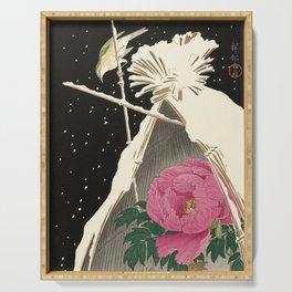 Bird and Peony Japanese Woodcut Serving Tray