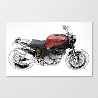 ducati Canvas Prints featuring Ducati Scrambler by Larsson Stevensem