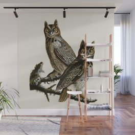 Great Horned Owl - Vintage Bird lllustration Wall Mural