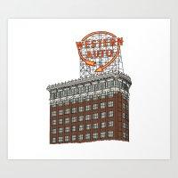 Art Print featuring Hand Drawn Kansas City Western Auto Building by itsrturn
