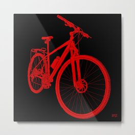 Mountain Bike (Red on Black Variant) Metal Print