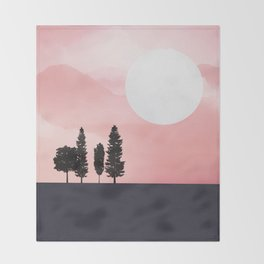 Pink Sunny Field Throw Blanket