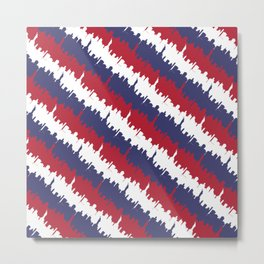 NY USA Candy Cane Skyline in Red White & Blue Metal Print