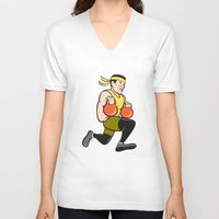 crossfit V-neck T-shirts featuring Crossfit Runner With Kettlebell Cartoon by patrimonio