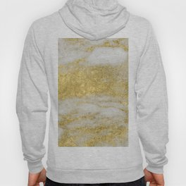 Marble - Glittery Gold Marble and White Pattern Hoody