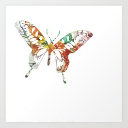 Colorful butterfly fabric art Art Print