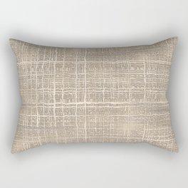 Beige Taupe Brown Jute Burlap Textile Pattern Rectangular Pillow
