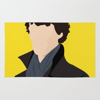 sherlock Area & Throw Rugs featuring Sherlock by Jessica Slater Design & Illustration