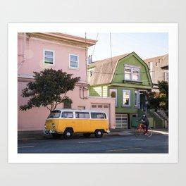 San Francisco Street Photography, Van Bus Yellow Art, Colorful Houses in San Francisco Print, California Art Print