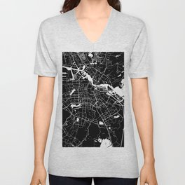 Amsterdam Black on White Street Map Unisex V-Neck