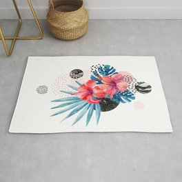 Mid Century Modern Floral Hibiscus Monstera Tropical Leaves Marble Bubbles Retro Funky Abstract Art Rug