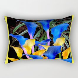 BLUE-BLACK MODERN ABSTRACT BLUE & GOLD CALLA LILIES Rectangular Pillow