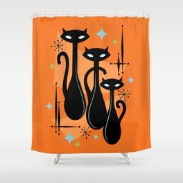 Effervescent Orange Atomic Age Black Kitschy Cat Trio Shower Curtain