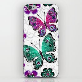 Colorful Butterflies and Flowers V22 iPhone Skin