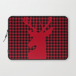 Red Plaid Deer Stag Design Laptop Sleeve