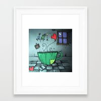 cup Framed Art Prints featuring cup by Maria Sciarnamei