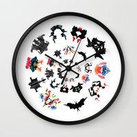 psychology Wall Clocks featuring Rorschach test subjects' perceptions of inkblots psychology   thinking Exner score  by Luxorama