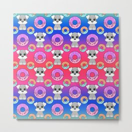 Cute happy funny little Schnauzer puppies, sweet yummy Kawaii adorable colorful donuts cartoon bright pink and midnight blue pattern design. Metal Print