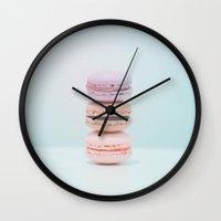 macaron Wall Clocks featuring Macaron by imstephanielee