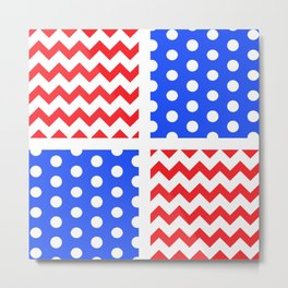 American Flag Chevron/Polkadot Pattern #ArtofGaneneK #Red #White #Blue Metal Print