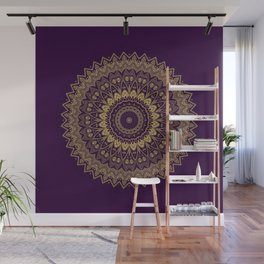 Harmony Circle of Gold on Purple Wall Mural