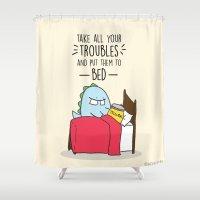 bucky Shower Curtains featuring Bucky The Dino by BuckyTheDino