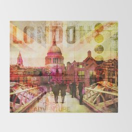 London St. Pauls Cathedral modern illustration typography Throw Blanket