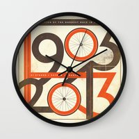 tour de france Wall Clocks featuring 100 Years of The Tour de France by Dushan Milic