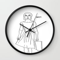 shit Wall Clocks featuring SHIT by Heidi Von