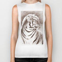 Tiger In Sepia Biker Tank