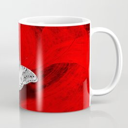 Silver butterfly emerging from the red depths Coffee Mug