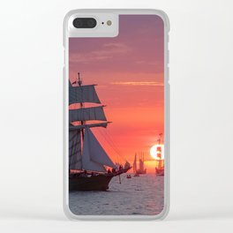 Windjammer with sunset Clear iPhone Case