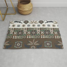 Vintage Boho Decor with Panthers and Palms in Brown and Green Rug