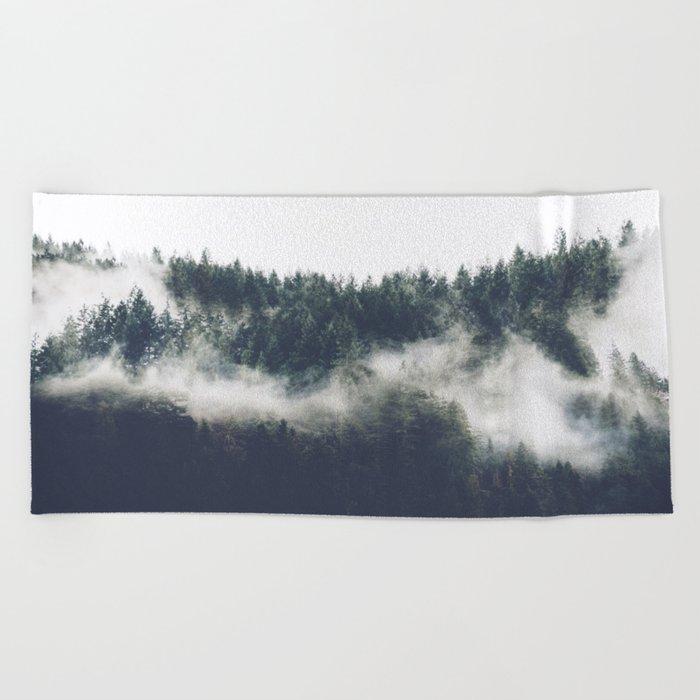 Abstract Forest Fog Beach Towel