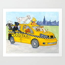 New York City Dog Taxi Art Print