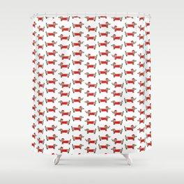 Christmas dachshund pattern Shower Curtain