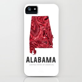 Alabama - State Map Art - Abstract Map - Red iPhone Case