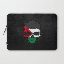 Flag of Palestine on a Chaotic Splatter Skull Laptop Sleeve