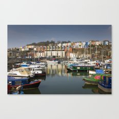 Bristol Boats and Coloured Houses Canvas Print