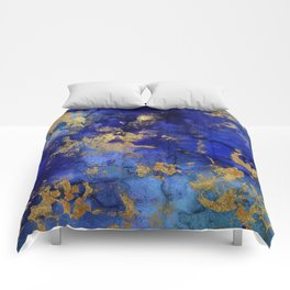 Gold And Blue Indigo Malachite Marble Comforters