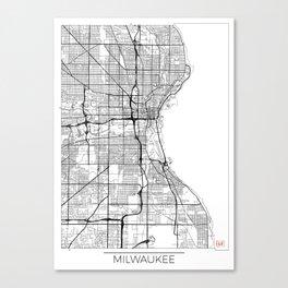 Milwaukee Map White Canvas Print