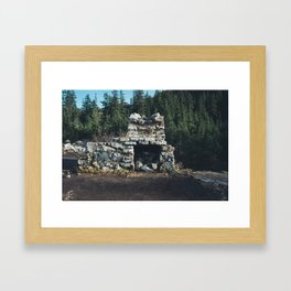 Cabin at Snow Lake Framed Art Print